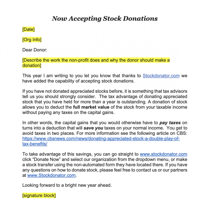 template to solicit stock donations